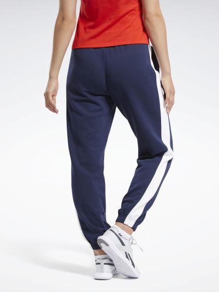 Синие с завышенной талией спортивные брюки с поясом Reebok