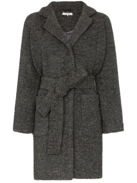 Шерстяное пальто с капюшоном Ganni