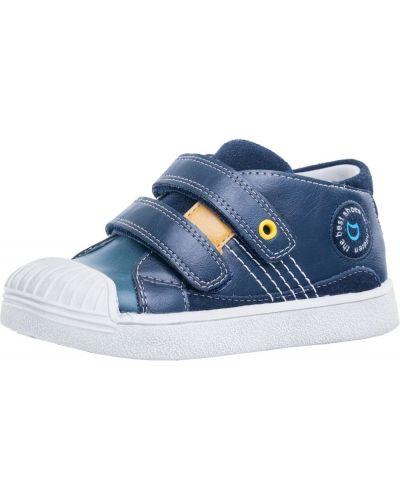 Комбинированные синие кожаные ботинки котофей
