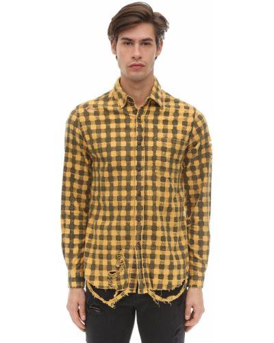 Żółta flanelowa koszula z printem The People Vs
