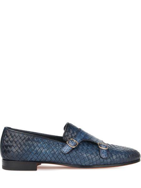 Синие туфли из крокодила с декоративной отделкой Santoni