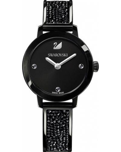 Водонепроницаемые часы черные кварцевые Swarovski