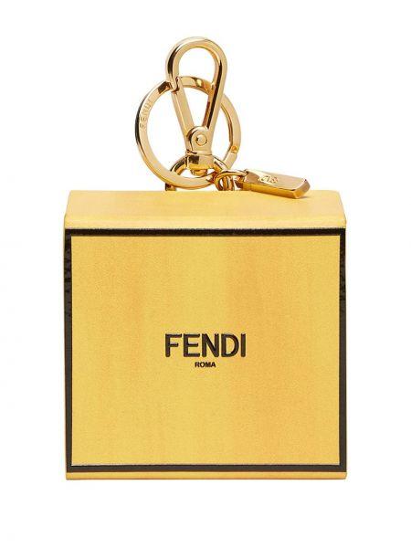 Żółty pierścionek skórzany z printem Fendi