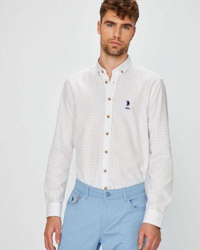Рубашка с длинным рукавом хлопковая с узором U.s. Polo