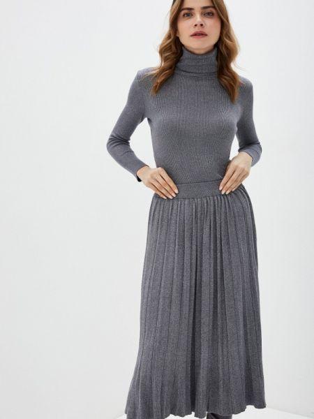 Костюмный серебряный вязаный юбочный костюм Liana