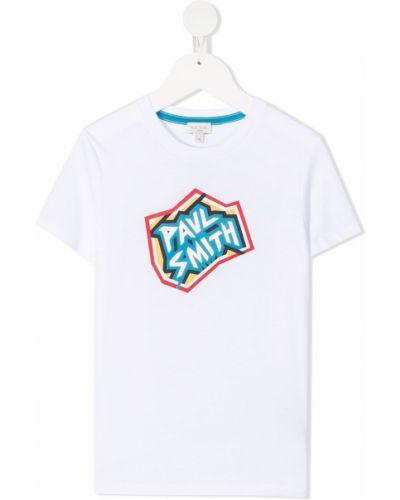 Прямая хлопковая белая рубашка с короткими рукавами Paul Smith Junior