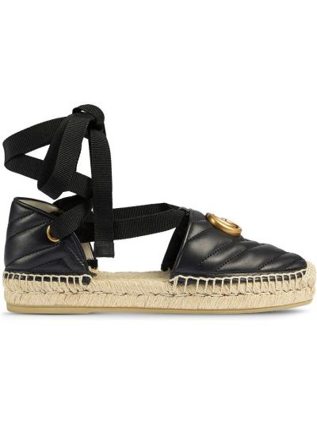 Czarne espadryle skorzane kopertowe Gucci