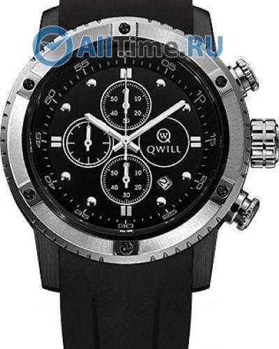 Черные силиконовые часы Qwill