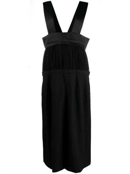 Шерстяная черная с завышенной талией юбка миди Comme Des Garçons
