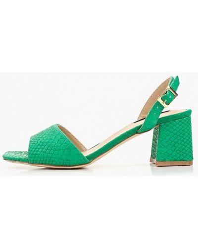 Босоножки на каблуке зеленый кожаные Lost Ink.