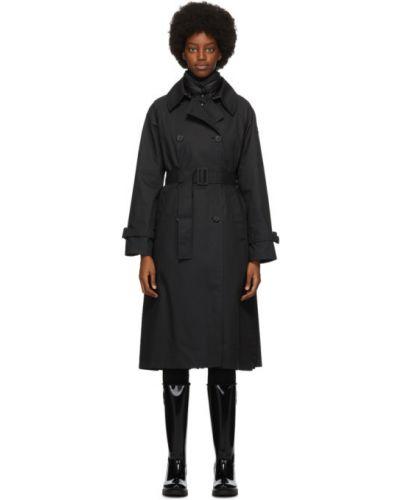 Стеганое пуховое черное длинное пальто Moncler