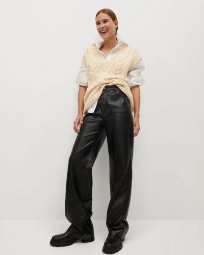 Кожаные черные брюки с высокой посадкой с подкладкой Mango