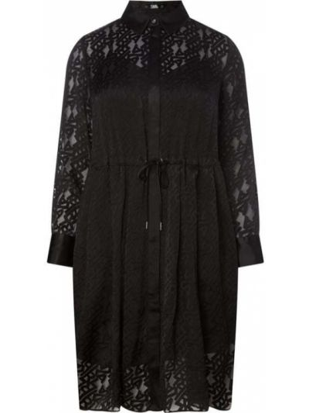 Czarny sukienka z mankietami z kołnierzem z wiskozy Karl Lagerfeld