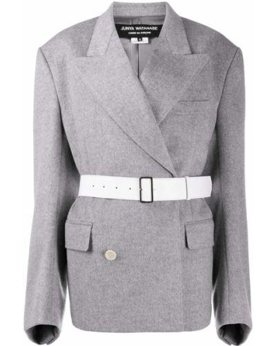 Серый удлиненный пиджак двубортный с поясом Junya Watanabe