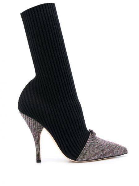 Черные шерстяные носки на каблуке Marco De Vincenzo