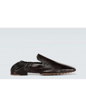 Кожаные коричневые кожаные туфли на каблуке с декоративной отделкой Bottega Veneta