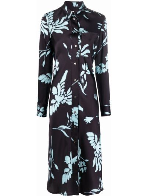 Платье миди в цветочный принт - черное Paul Smith