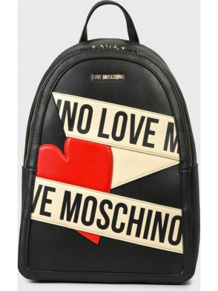 Черный кожаный рюкзак на молнии Love Moschino