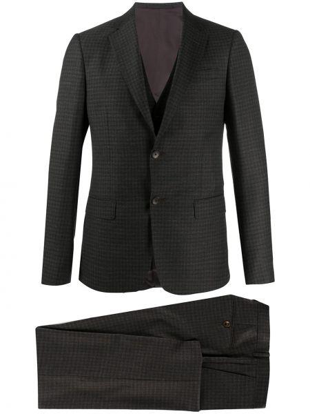Bawełna czarny kostium garnitur z wiskozy Z Zegna