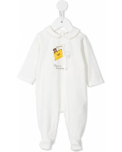 Biała piżama bawełniana z długimi rękawami Fendi