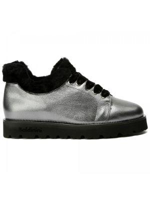 Серебряные кожаные туфли закрытые Baldinini