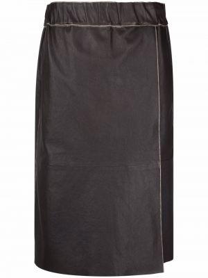 Кожаная юбка миди - коричневая Luisa Cerano