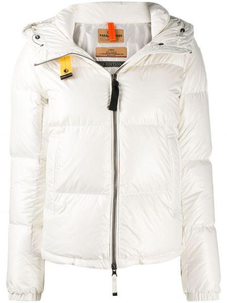 Белая классическая стеганая куртка с нашивками на молнии Parajumpers