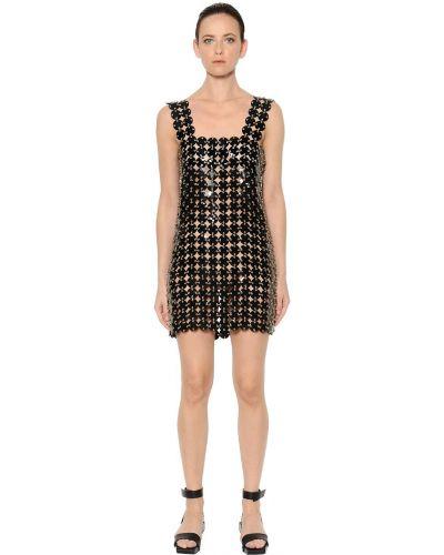 Платье мини с декольте на бретелях Paco Rabanne