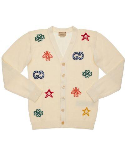 Biały bawełna bawełna kardigan Gucci