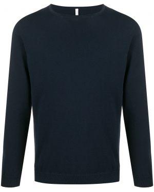 Синий свитер свободного кроя в рубчик с круглым вырезом Cenere Gb