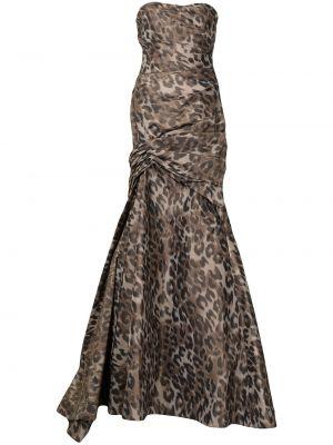 Вечернее платье с принтом - коричневое Monique Lhuillier