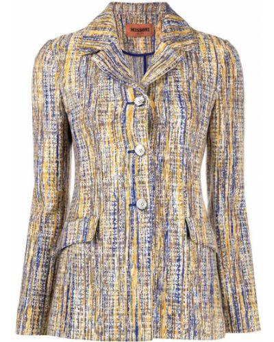 Синий удлиненный пиджак твидовый на пуговицах Missoni