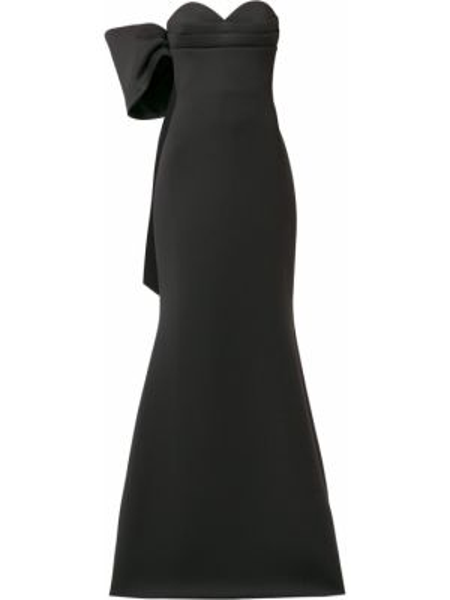 Открытое черное платье с открытой спиной Badgley Mischka