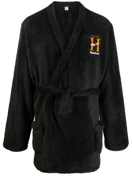 Czarny szlafrok z haftem z długimi rękawami Reebok
