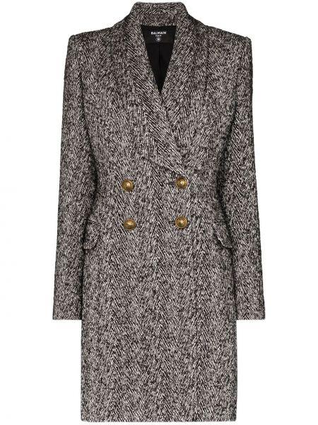 Серое пальто из альпаки Balmain