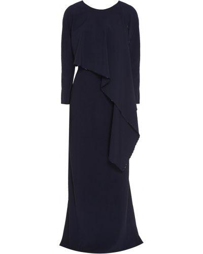 Асимметричное синее платье макси из вискозы Zac Posen