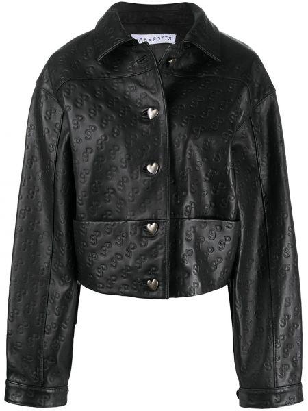 Черная кожаная куртка с воротником Saks Potts