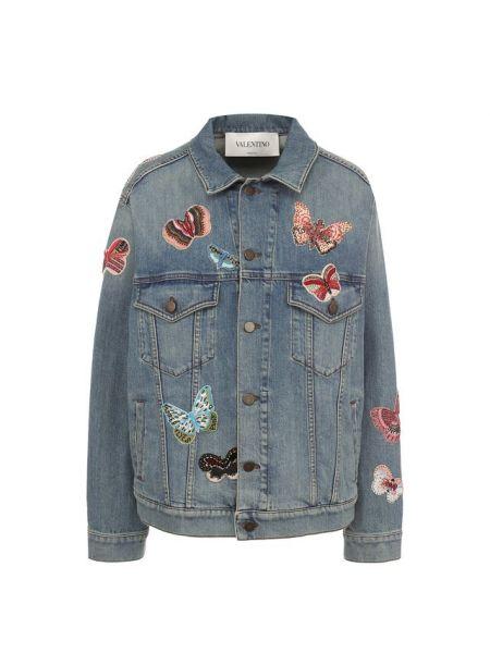 Синяя свободная джинсовая куртка свободного кроя с нашивками Valentino
