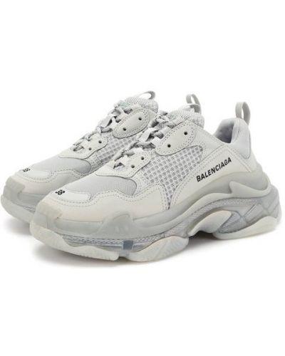 Кожаные кроссовки с вышивкой с нашивками Balenciaga