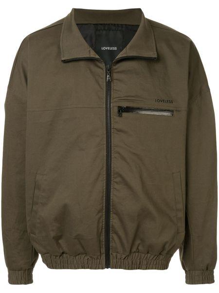 Zielona długa kurtka bawełniana z długimi rękawami Loveless