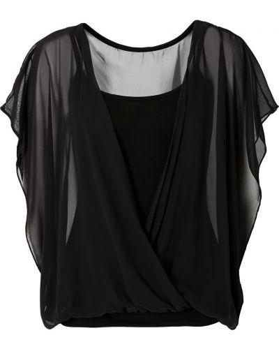 Блузка с запахом черная Bonprix