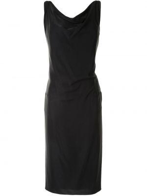 Черное платье миди с драпировкой с воротником без рукавов Maison Margiela