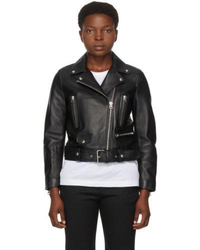Черная кожаная длинная куртка с подкладкой Acne Studios