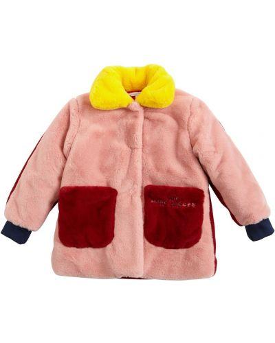 Розовое пальто на кнопках с вышивкой Little Marc Jacobs