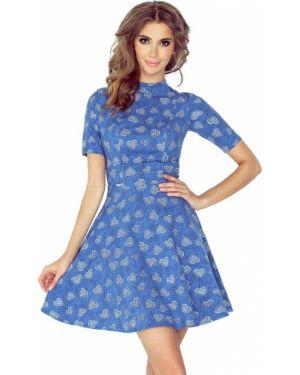 Niebieska sukienka jeansowa materiałowa Morimia