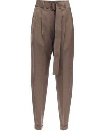 Шерстяные с завышенной талией брюки с карманами Agnona