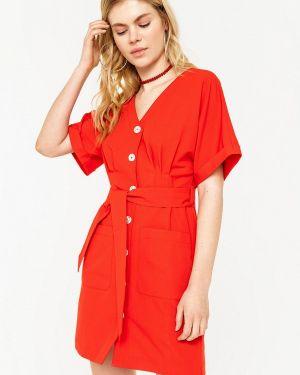 Платье прямое красный Befree