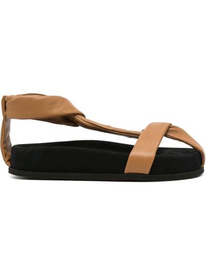 Brązowe sandały peep toe Neous