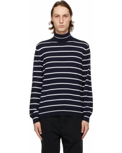 Z kaszmiru biały długi sweter w paski Ralph Lauren Purple Label