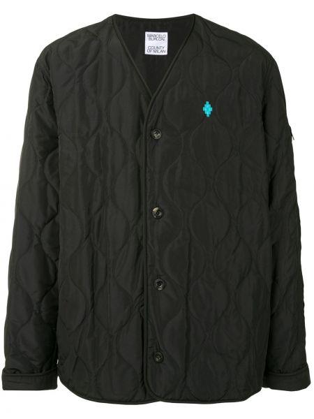 Czarna kurtka pikowana z haftem Marcelo Burlon County Of Milan